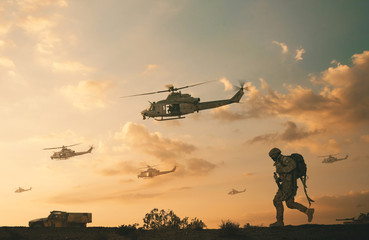 Poster Helicopter Military soldiers and helicopters and tanks in desert in battlefield