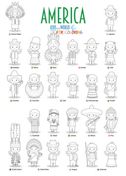 Kids and nationalities of the world vector: America. Set of 25 characters for coloring dressed in different national costumes.