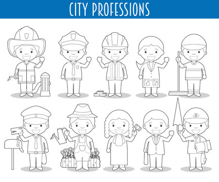 Vector Set of City Professions for coloring in cartoon style.