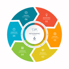 Obraz Infographic process chart. Cycle diagram with 6 stages, options, parts. Can be used for report, business analytics, data visualization and presentation. - fototapety do salonu