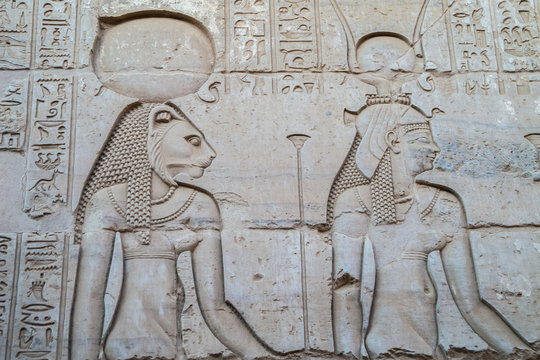 Engraving of Sekhmet and Hathor in the Temple of Kom Ombo