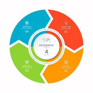 Infographic process chart. Cycle diagram with 4 stages, options, parts. Can be used for report, business analytics, data visualization and presentation.