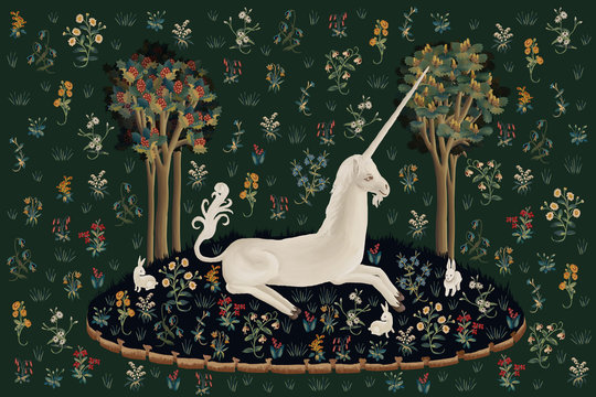 Unicorn rest illustration, poster, card in medieval tapestries style