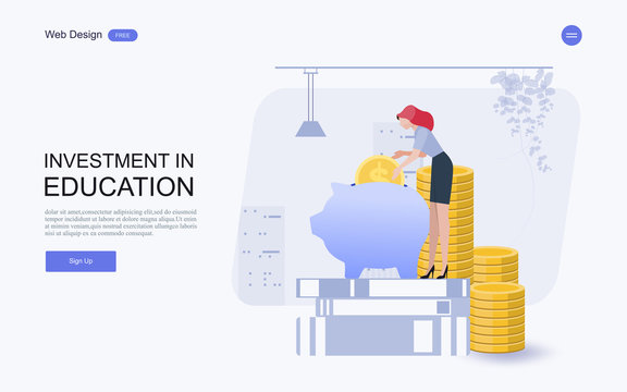 Flat design website banner of investment in knowledge, student loans, scholarships.money,savings for study.Vector illustration.