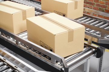 Cardboard boxes on a production conveyor