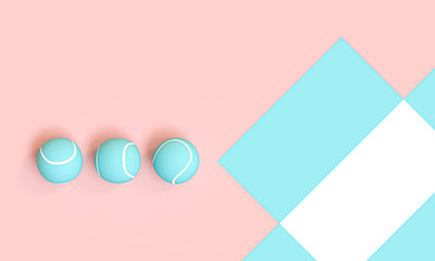 3d render image of a series of blue tennis balls on a pink and white background