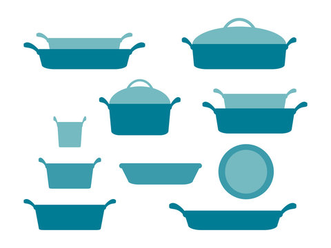 Casseroles and baking dishes header, collection of glassware kitchenware and cookware set of kitchen utensils for home cooking flat vector illustration