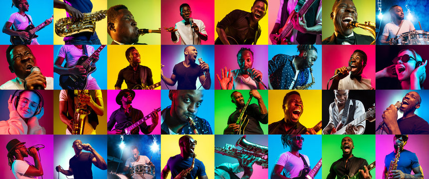 Collage of different photos of 5 young people in neon light on multicolored background. Listen to music, sing a song, play sax or guitar. Concept of hobby, inspirness. Colorful portrait of artists.