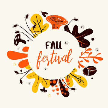 Flat vector Illustration of mushrooms, herbs and bugs. Fall festival banner, poster. Frame with plants.