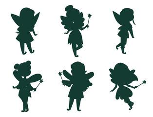 Lamas personalizadas infantiles con tu foto Fairies princess silhouette fairy girl vector character cute beautiful style cartoon little fairyland fashion costume magic fantasy dress fairytale crown kid.