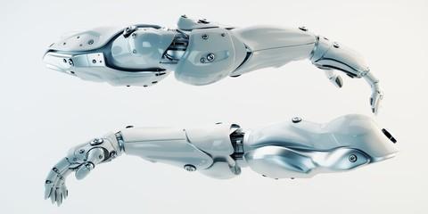 Photo sur Aluminium Dauphins Pair of futuristic athletic robotic arms, 3d rendering