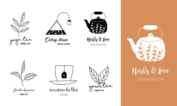 Hand drawn tea logo set in doodle style
