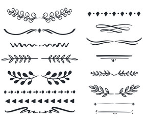 Hand drawn vector dividers. Lines, borders and laurels set. Doodle design elements.