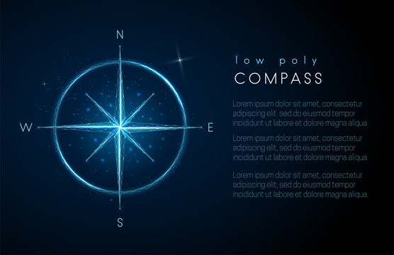 Abstract compass icon. Low poly style design