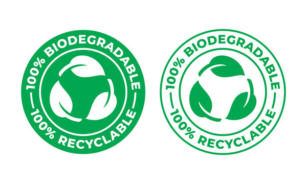 Biodegradable recyclable vector icon. Recycling, 100 percent bio recyclable and degradable package packet logo