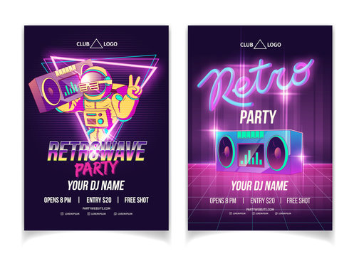 Retrowave music party in nightclub cartoon vector ad poster, flyer or brochure page template in neon colors. Astronaut in spacesuit holding boombox on shoulder, showing victory hand sign illustration
