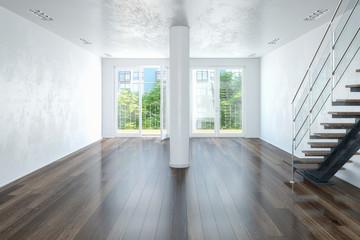3d Illustation - Leerstehendes modernes Loft mit großen Fenster und einer Treppe - Helles Wohnzimmer