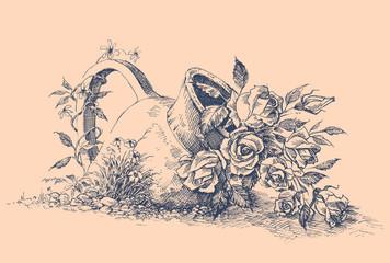 Fototapeta Flowers in ceramic pot in the garden vector hand drawing obraz