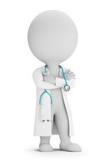 3d small people - doctor with stethoscope