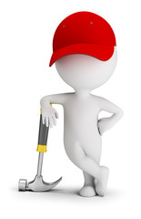 3d small people - repairman leaned on a hammer