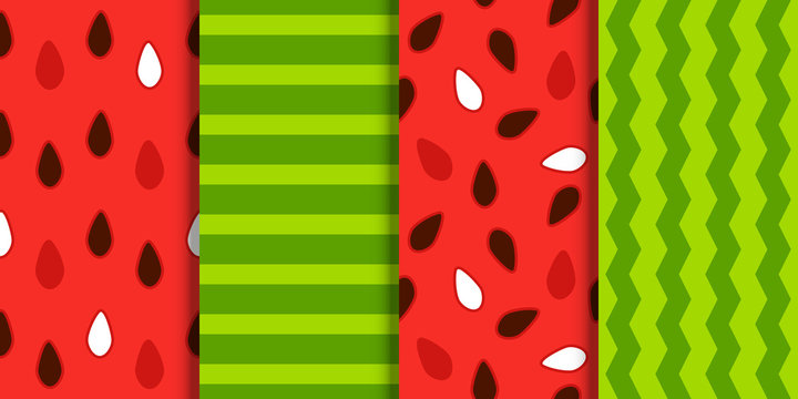 Set of seamless watermelon patterns for Your summer design