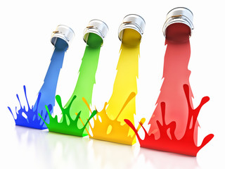 Creativity concept, illustration of colorful paints pouring from cans creating paint splashes, isolated on white