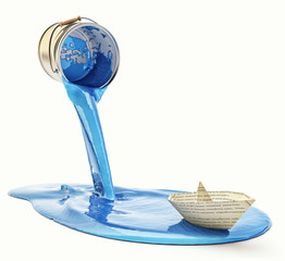 Renovation and repainting concept, paper boat sailing on blue paint pouring out of the paint can, isolated on white