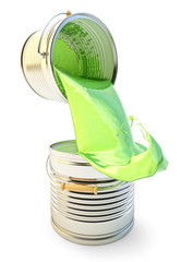Painting concept, pouring out green paint from one can to another with overflow and paint splashes, isolated on white