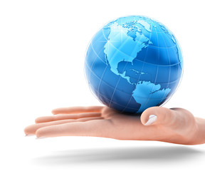 Global business and global communication concept, holding the blue globe of planet Earth on an open human palm, isolated on white