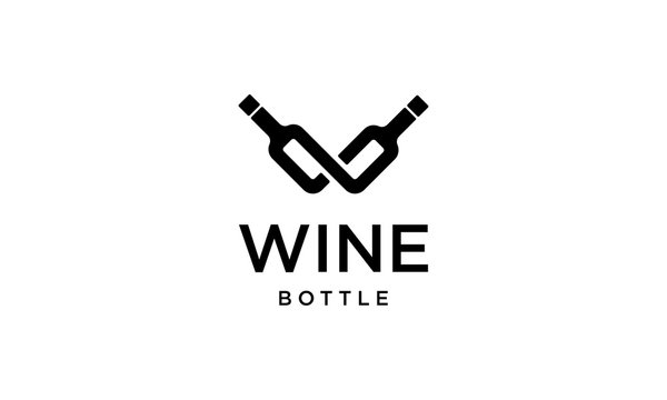 initial letter W with wine bottle logo design template