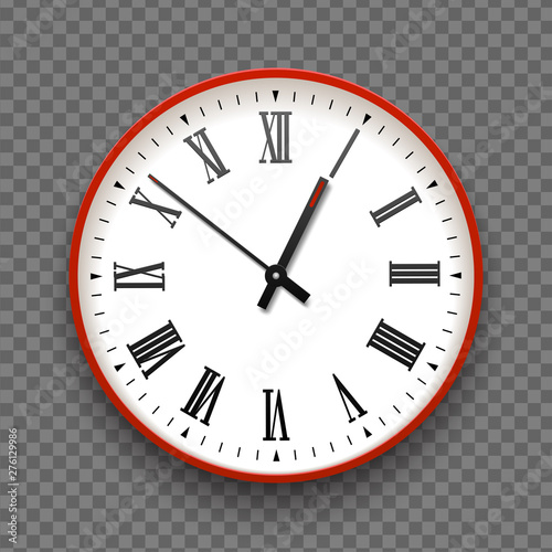 Red and white wall office clock icon with roman numbers