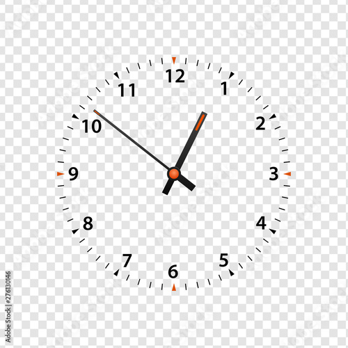 Vector clock face isolated on transparent background  Clock
