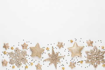 Christmas composition. Christmas decorations on white background. Flat lay, top view