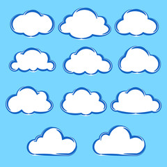 Collection set of variation cartoon clouds on blue sky background