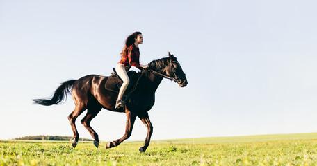 Woman riding a horse on a grass field.