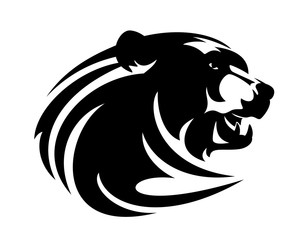 roaring brown bear head - wild animal black and white vector portrait