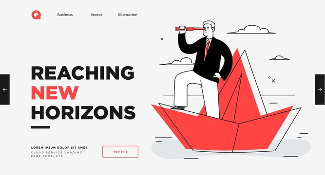 Presentation slide template or landing page website design. Business concept illustrations. Modern flat outline style. Leadership concept