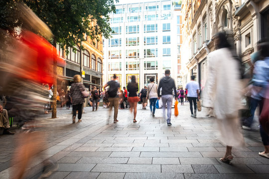 Motion blurred London shopping street