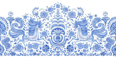 Watercolor painted seamless border, blue unicorn print on a white background. Floral pattern from hand drawn rose flowers, fantasy leaves and fairy tale animal, ornate cute horse. Scarf, shawl, wallpa