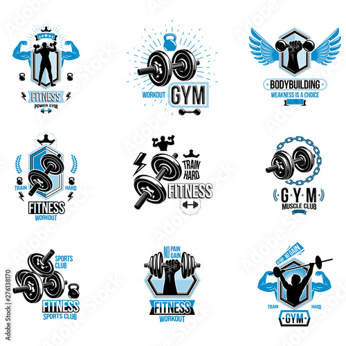 Vector fitness workout theme logotypes and inspiring posters