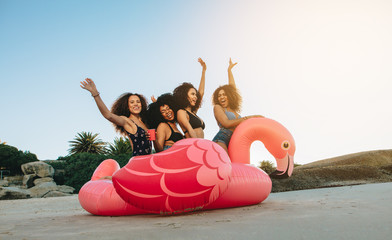 Girls on a inflatable swan at the beach