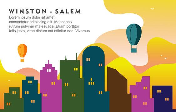 Winston Salem North California City Building Cityscape Skyline Dynamic Background Illustration