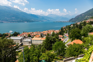 Colico village overview on the shore, Lake Como, Italy