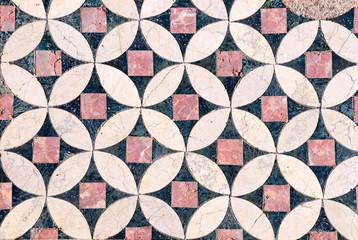 Detail of marble mosaics in ruins of Saint John's Basilica, Selcuk, Turkey