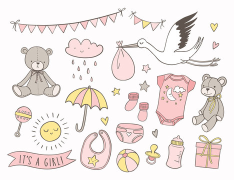 Girl baby shower. Set of hand drawn newborn items and elements. Invitations, cards, nursery decor.