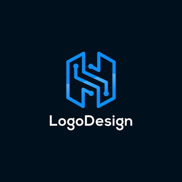 minimal Line letter H logo initial with technology concept