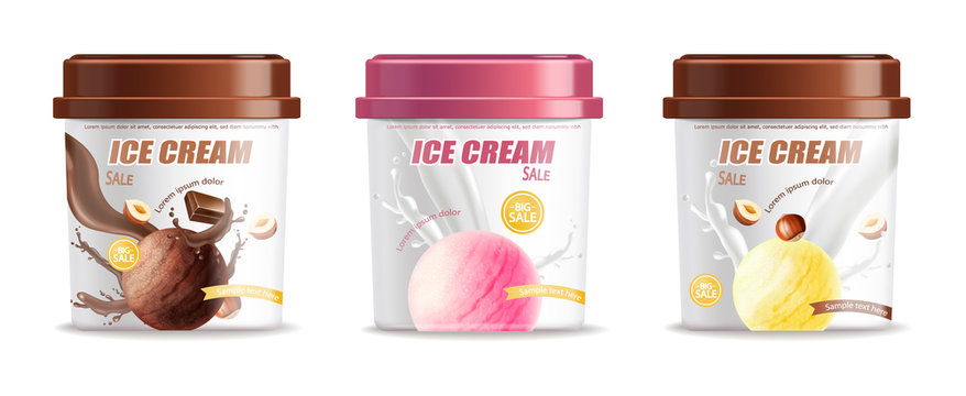 Ice cream plastic bucket container set packaging Vector realistic. Chocolate, strawberry and vanilla flavor. Label design 3d illustrations