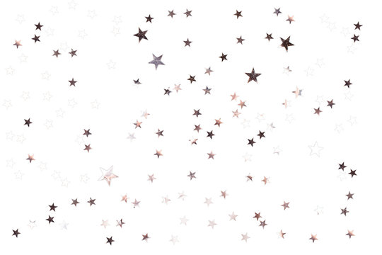 Silver stars on isolated white background. Perfect star overlay.