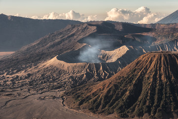 Mount volcano an active with smoke, Kawah Bromo, Gunung Batok at sunrise
