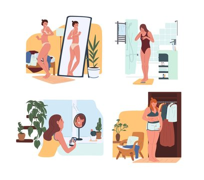 Young funny women in underwear looking in mirror and weighing on scales. Body rejection problem, dysmorphophobia, self hate, dissatisfaction with appearance. Flat cartoon colorful vector illustration.